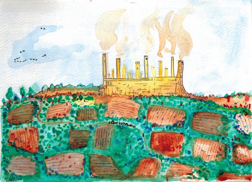 Aquarelle d'Aradhis, une ville avec des murailles et de hautes cheminées jaunes, et des champs en premier plan.