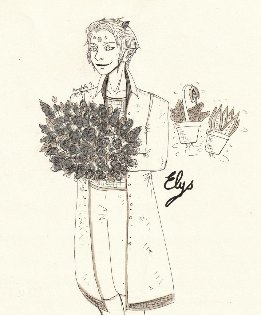 Illustration à l'encre représentant un humanoïde fantasy qui porte un bouquet de fleurs, et des pots qui volent en arrière-plan