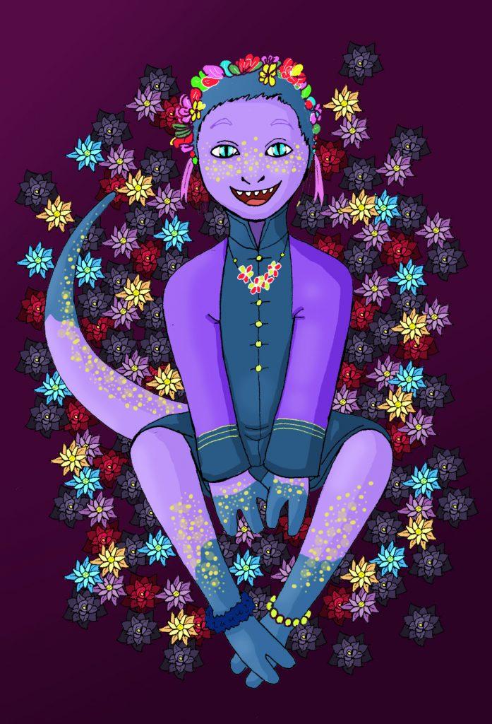 Créature humanoïde violette entourée de petites fleurs, illustration digitale par Anatole