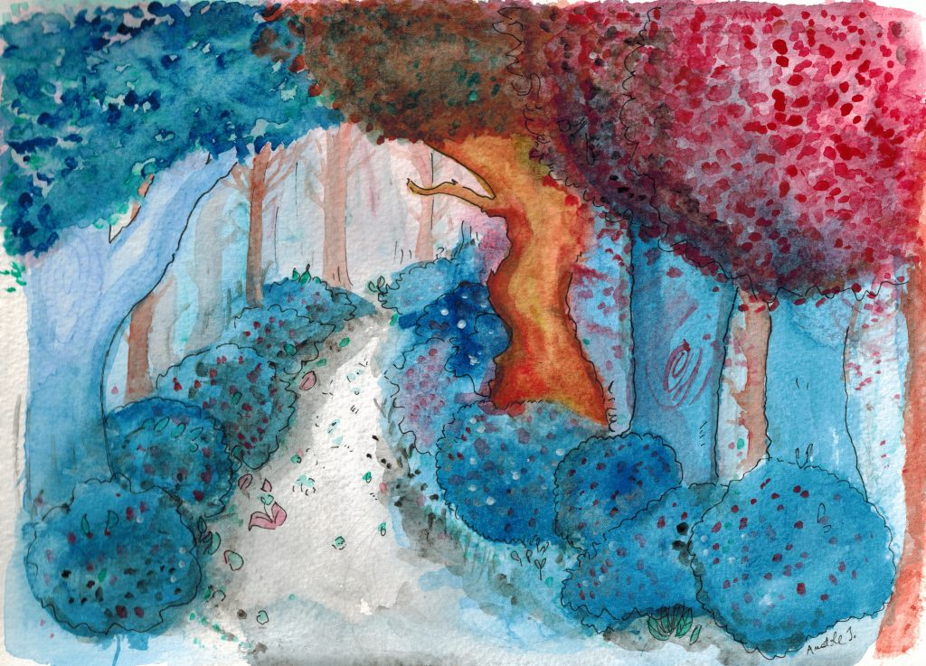 Forêt d'Hexe, avec des arbres bleus et oranges, peinte à l'aquarelle