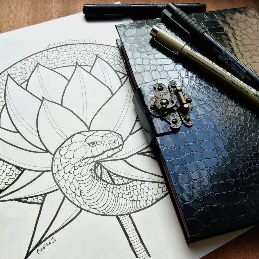Photographie de l'illustration à l'encre Ring, ou l'on voit l'illustration accompagnée d'un carnet en simili-reptile avec fermoir, et quelques feutres à encre noire