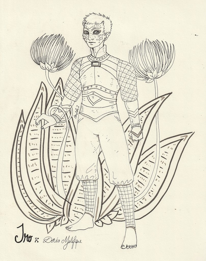 Illustration à l'encre représentant Iro, un soldat hybride en armure, avec une plante fantasy en arrière-plan