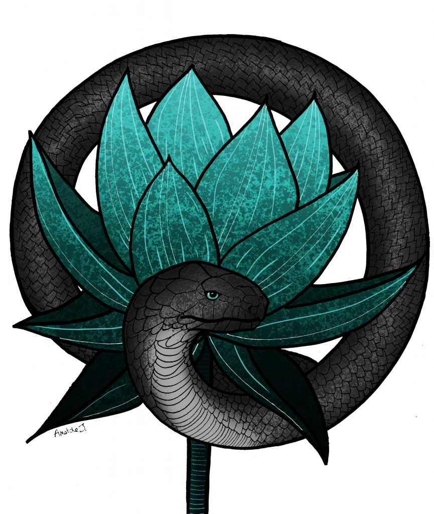 Illustration digitale d'Anatole, qui représente un serpent noir entourant une gigantesque fleur bleue.