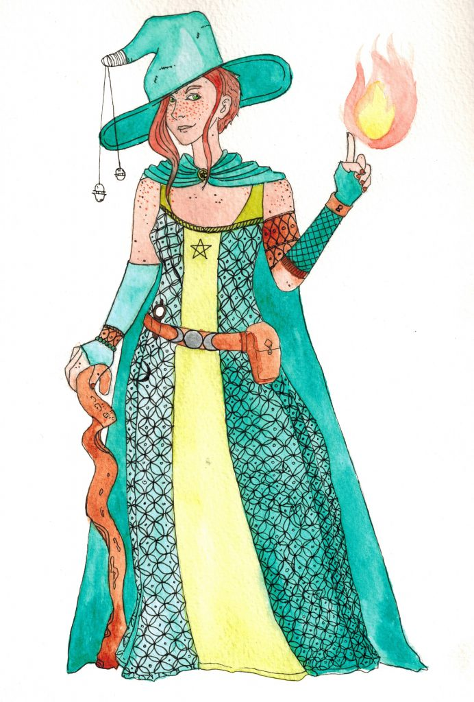 Illustration à l'aquarelle, représentant une sorcière en robe verte qui invoque une flamme de sa main gauche