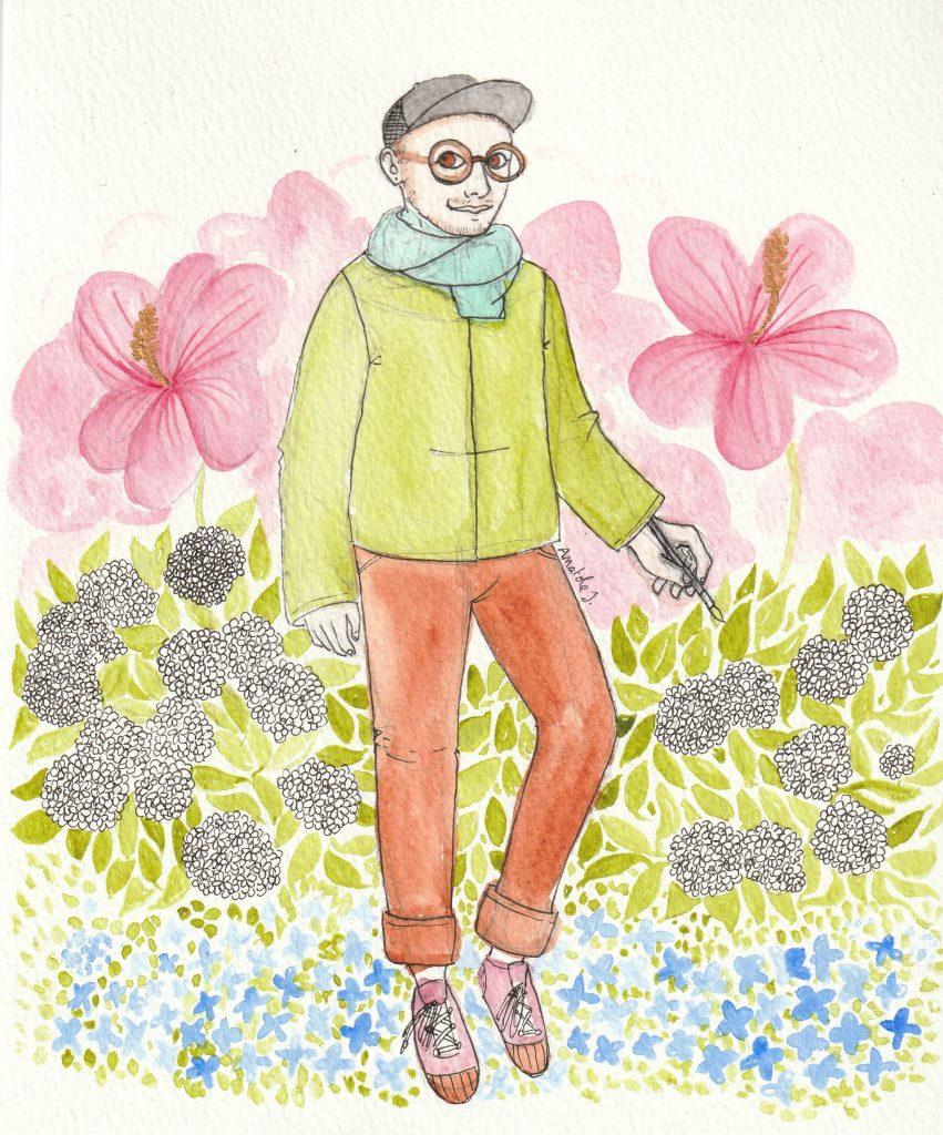 Autoportrait d'Anatole à l'aquarelle, où il est entouré de fleurs roses, blanches et bleues.