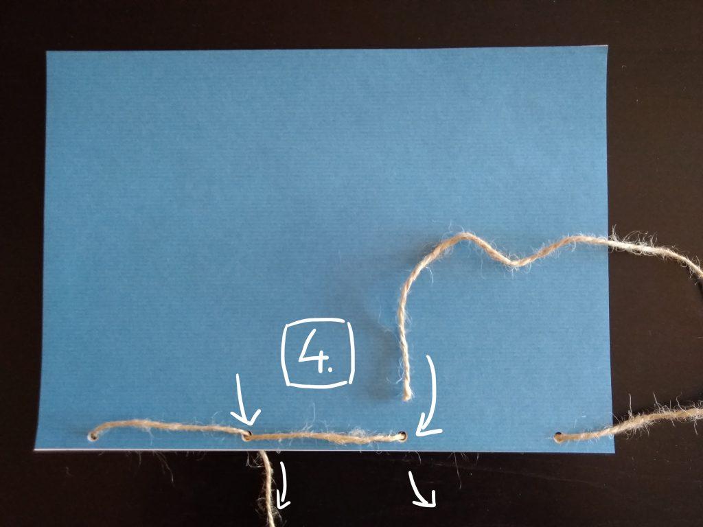 Passer de nouveau les extrémités de la ficelle dans les trous du milieu