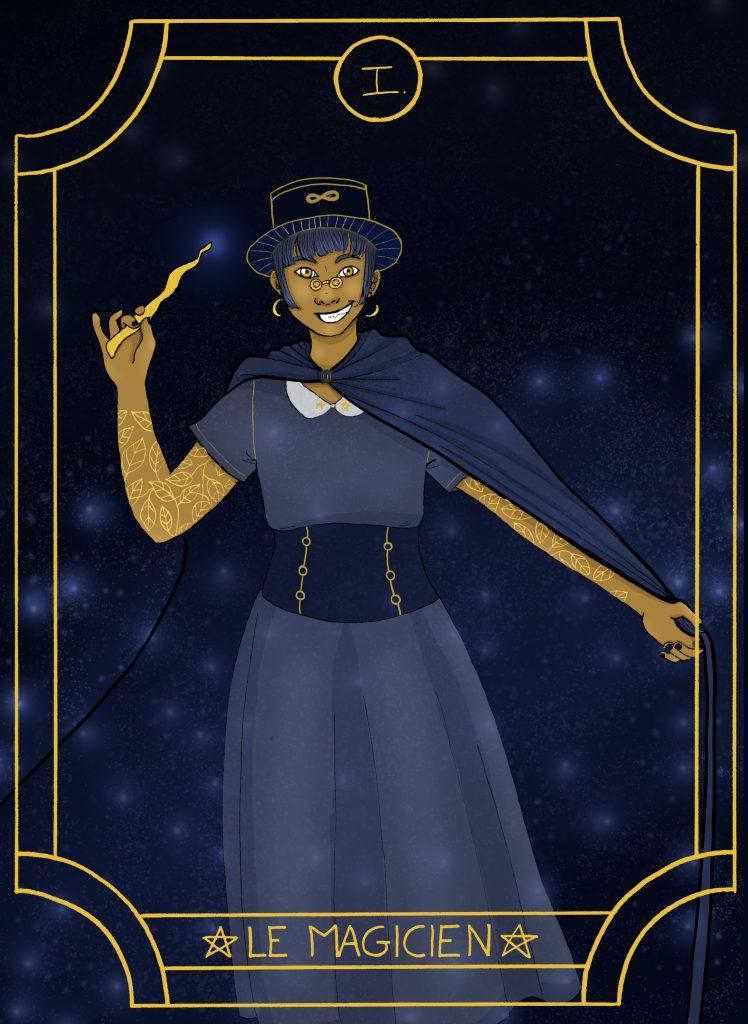 Illustration digitale de l'arcane majeure du tarot, le magicien