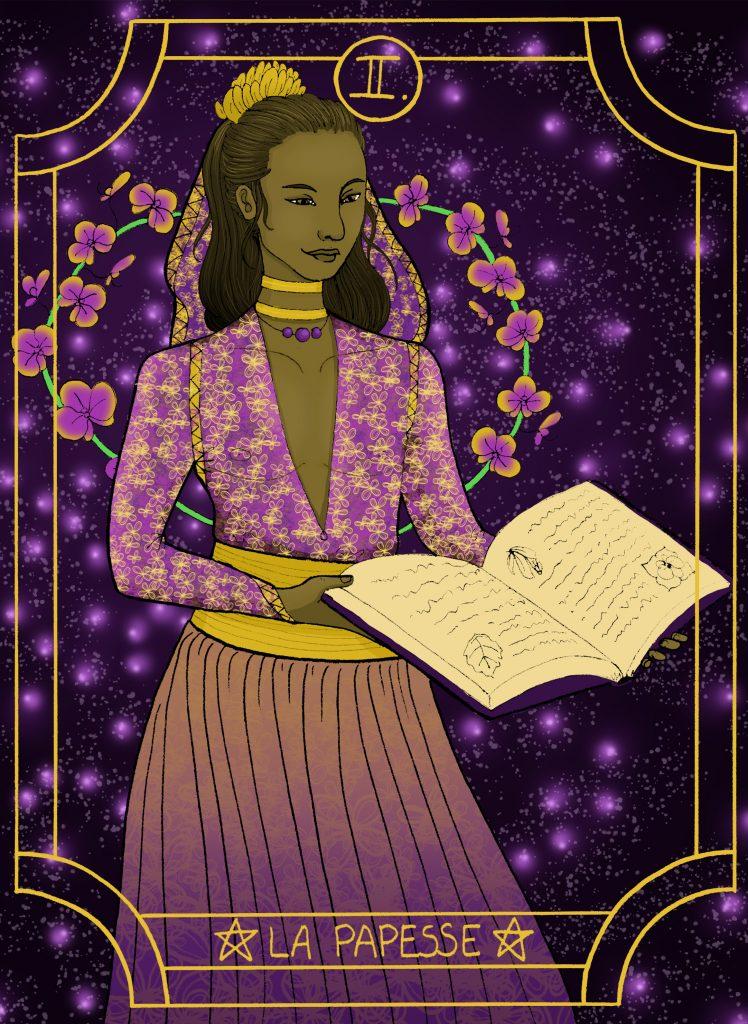 Illustration digitale de l'arcane majeure du tarot, la papesse